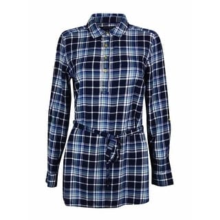 Tommy Hilfiger Women's Plaid Belted Tunic Top