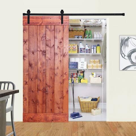Paneled Wood Barn Door with Installation Hardware Kit - Z1 Series