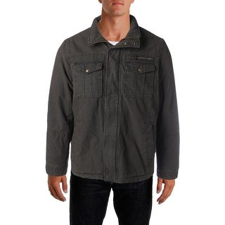 Bass Mens Faux Fur Lined Twill Bomber Jacket - S