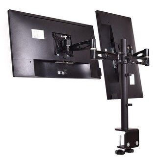 Costway Adjustable Computer Monitor Desk Mount Stand for Dual LCD Flat Screen Monitor - Black