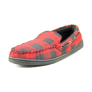 Wembley Buffalo Check Moccasin Men Moc Toe Canvas Red Slipper