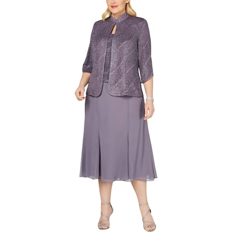 Alex Evenings Womens Plus Dress With Jacket 2PC Glitter - Pewter