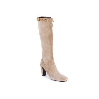 Car Shoe Womens Beige Tall Suede Gold Buckle High-Heel Boots