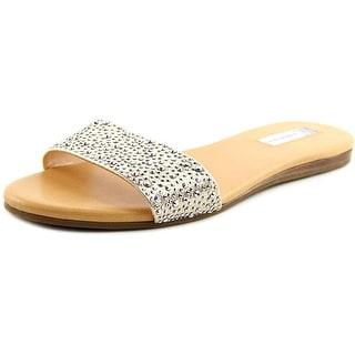INC International Concepts Zinaa 2 Women Open Toe Canvas Gold Slides Sandal