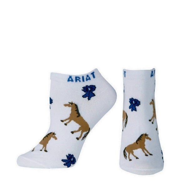 Ariat Socks Womens Western No Show Ribbon White Blue