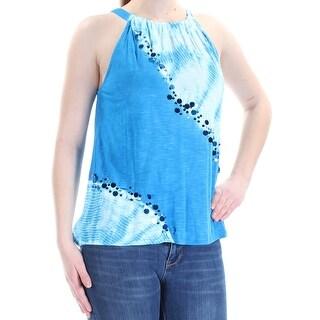 Womens Blue Tie Dye Sleeveless Halter Top Size M