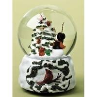 """5.5"""" Musical Snowman Conducting Cardinal Bird Chorus Christmas Glitterdome - WHITE"""