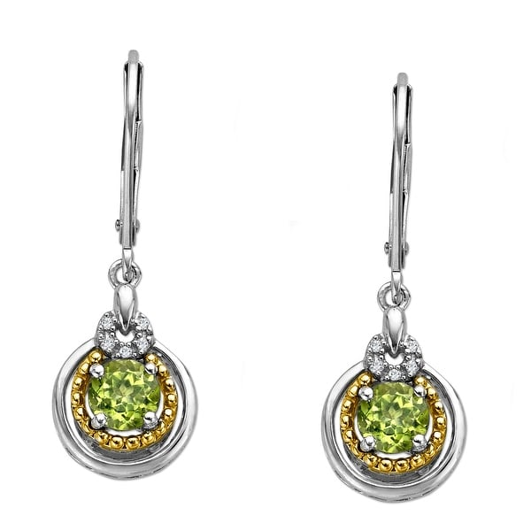 1 ct Peridot Earrings with Diamonds in Sterling Silver and 14K Gold