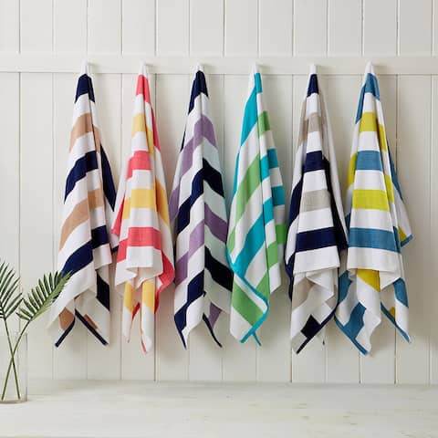 """Great Bay Home Sunset Bay Cabana Striped Reversible 4-Pack Beach Towel - 30"""" x 60"""""""