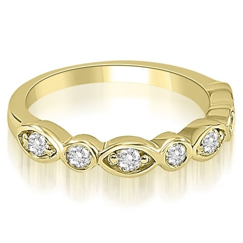 0.35 cttw. 14K Yellow Gold Stylish Bezel Round Cut Diamond Wedding Ring