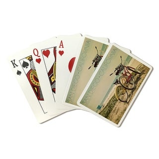 San Diego, CA - Bicycles & Beach Scene - LP APhoto (Poker Playing Cards Deck)