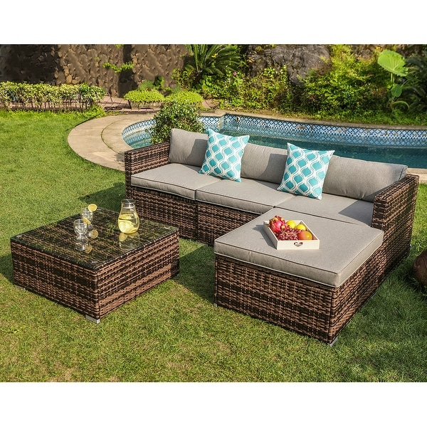 Shop COSIEST 5-Piece Outdoor Sofa Patio Furniture Set With ... on 5 Piece Sectional Patio Set id=61546