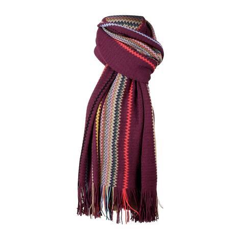 Missoni Purple Crochet Knit Oversized Zigzag Fringe Scarf - 20-84-
