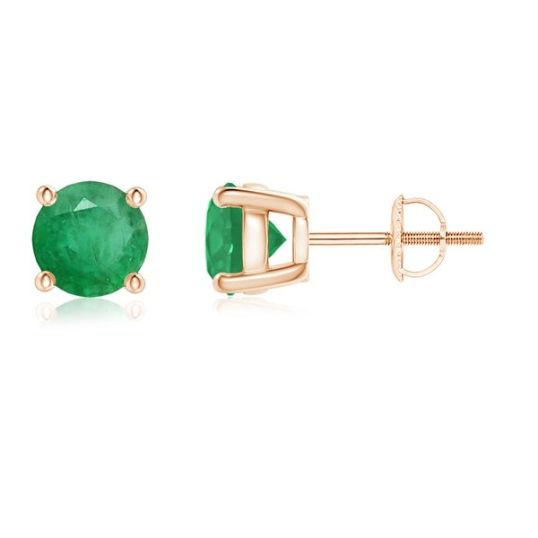 Angara Natural Emerald and Diamond Basket Stud Earrings in Yellow Gold UaSxHJK