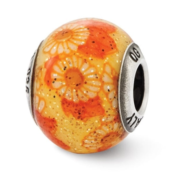 Italian Sterling Silver Reflections Orange Floral Decorative Overlay Glass Bead (4mm Diameter Hole)
