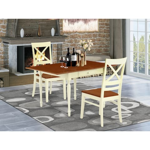 Drop Leaf Rectangular Dinette Table and Hardwood Seat Kitchen Chairs - Buttermilk and Cherry Finish (Number of Chairs Option)