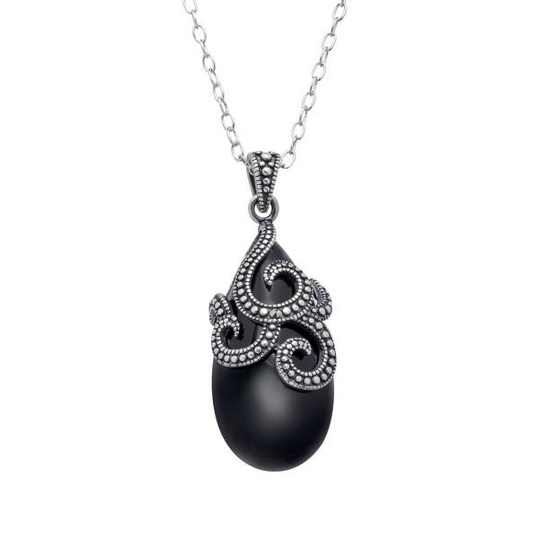 Black Agate & Marcasite Pendant in Sterling Silver-Plated Brass