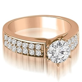 1.10 cttw. 14K Rose Gold Cathedral Style Two Row Round Diamond Engagement Ring