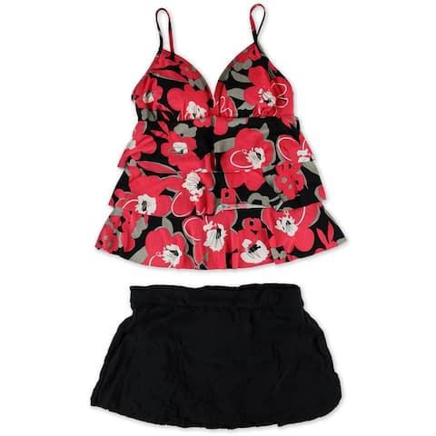 MagicSuit Womens Floral Skirtini 2 Piece Tankini, Red, 12