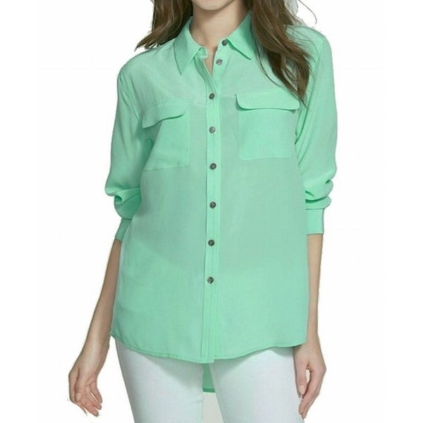 4f4f5e79f06441 Shop Two by Vince Camuto NEW Green Women s Small S Button Down Shirt Silk -  Free Shipping On Orders Over  45 - Overstock - 19472617