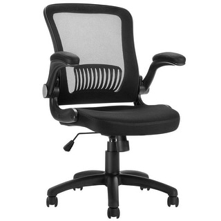 LANGRIA Mid-back Ergonomic Swivel Office Task Chair, Black Mesh