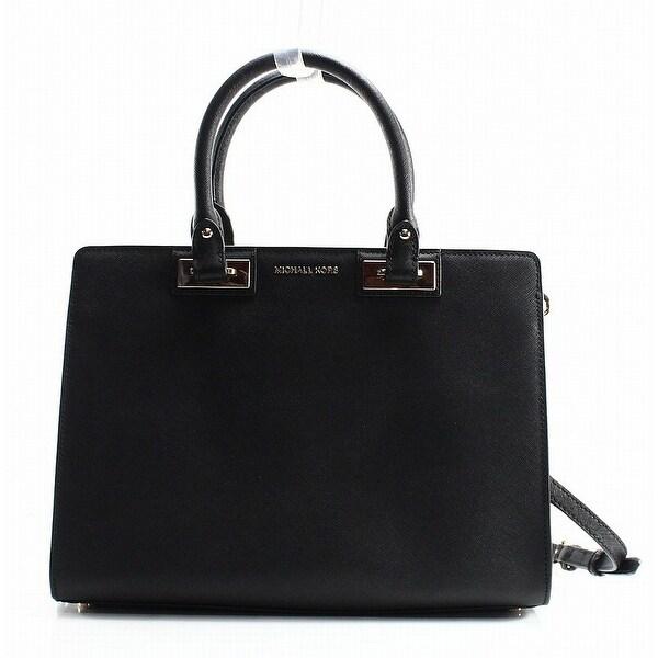 7fa20f7bca17 Shop Michael Kors NEW Black Saffiano Quinn Large Zip Top Satchel Bag ...