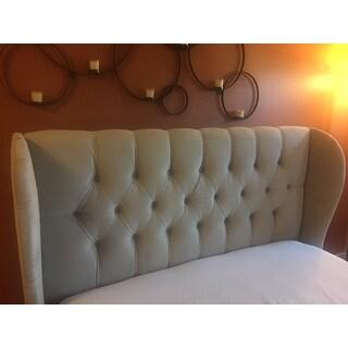 Skyline Furniture Tufted Wingback Bed in Velvet Buckwheat