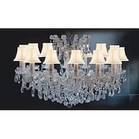 Maria Theresa Crystal Chandelier Lighting With White Shades Gold