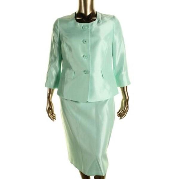 Le Suit Womens The Hamptons Skirt Suit Shantung 2PC