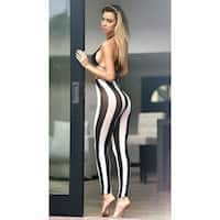 Opaque Striped Leggings - BLACK/WHITE - One Size Fits most