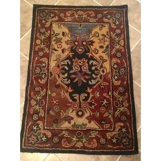Safavieh Handmade Heritage Timeless Traditional Multicolor/ Burgundy Wool Rug (8' x 10')