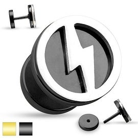Lightning Bolt Cut Out Two Tone Fake Plug 316L Surgical Steel (Sold Ind.)