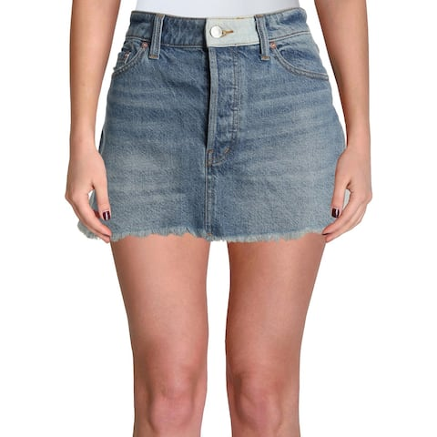 Free People Womens Mini Skirt Denim Patchwork