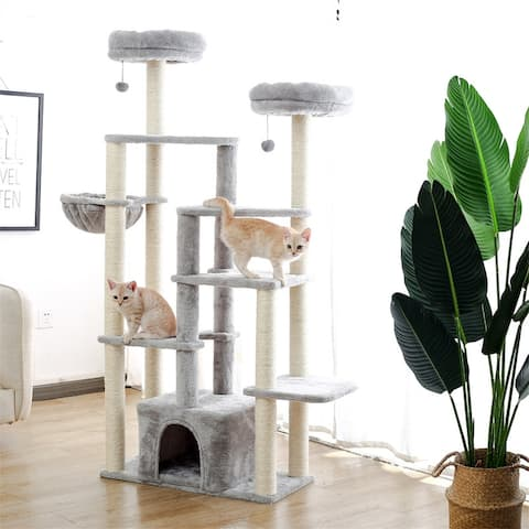 Multi-Platform Cat Tree with Sisal Scratching Posts, Deluxe Condo