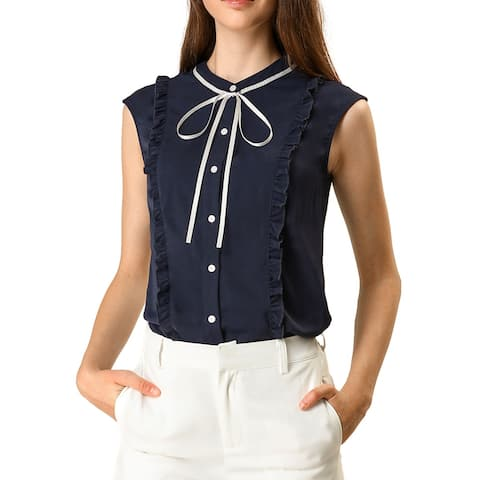 Women's Cute Tie Neck Sleeveless Ruffle Button Down Chiffon Summer Shirt