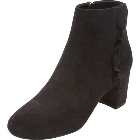 Rockport Womens Oaklee Ankle Boots Faux Suede Block Heel - Black