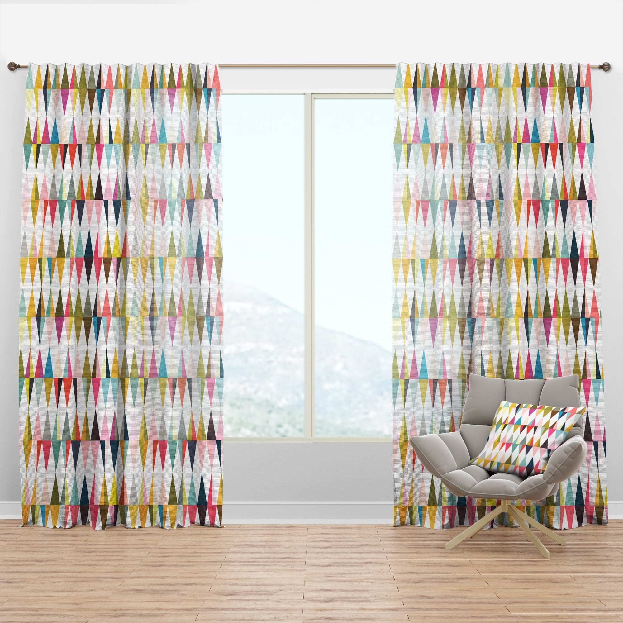 Shop Black Friday Deals On Designart Diamond Retro Vii Mid Century Modern Curtain Panel Overstock 29626133