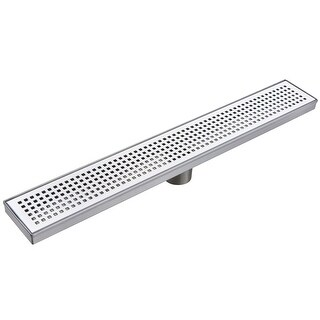 "Miseno MLND-36 36'' Pattern Grate Linear Shower Drain with 2"" Outlet"