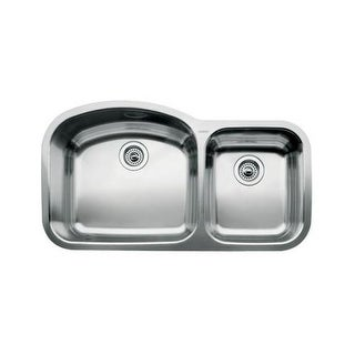 "Blanco 440242 Wave 1-3/4 Basin Undermount Kitchen Sink with 10"" and 7"" Bowl Depths 37 7/16"" x 20 7/8"""