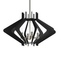 """Park Harbor PHPL5584 25"""" Wide 4-Light Foyer Pendant with Angled Arm Accents - Textured Black and Polished Nickel - N/A"""