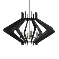 """Park Harbor PHPL5584 25"""" Wide 4 Light Foyer Pendant with Angled Arm Accents - textured black and polished nickel"""