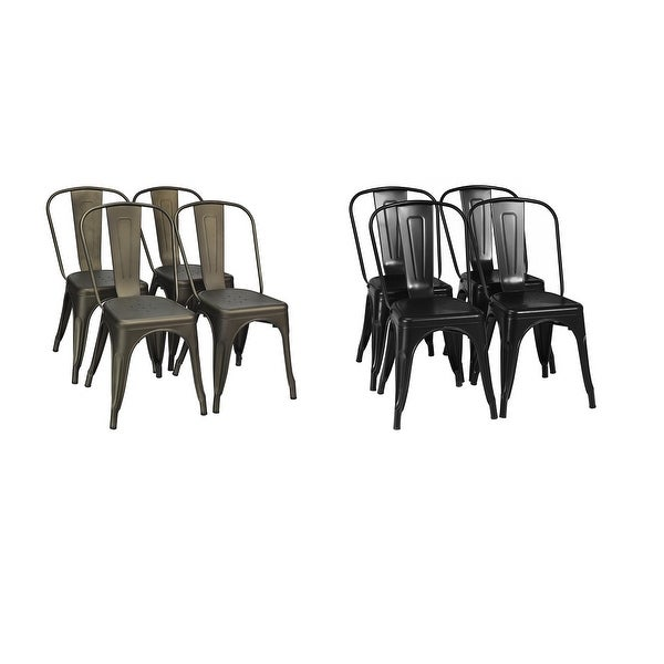 Set of 4 Dining Side Chair Stackable Bistro Cafe Metal Stool GunBlack - See details. Opens flyout.