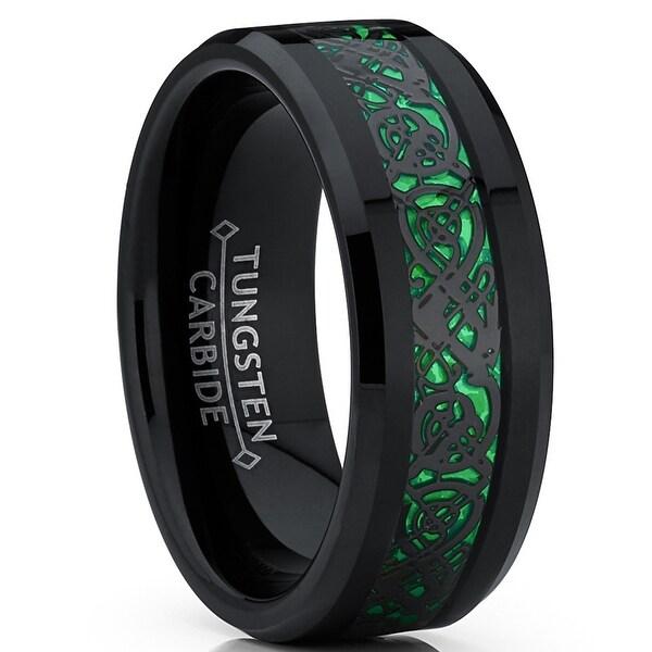 Black Tungsten Wedding Band,Tribal Design Tungsten Ring,Tungsten Carbide Ring,8mm Black Tungsten Ring,Comfort Fit