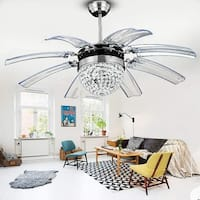 "Retractable 8-Blades Chrome LED Crystal Ceiling Fan with Remote - d42""xh18 1/2"""