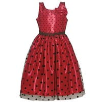 Jayne Copeland Girls Red Black Polka Dot Bow Accent Christmas Dress