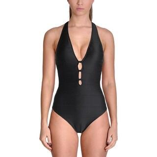 Lauren Ralph Lauren Womens Ottoman Ribbed Plunge Neckline One-Piece Swimsuit