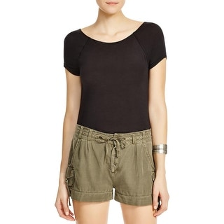 Free People Womens Carma Bodysuit Drape Back Short Sleeves