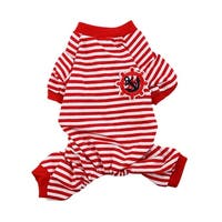 Pet Puppy Anchor Rudder Pattern Stripe Sleeping Dresses Clothes Pajamas Size M