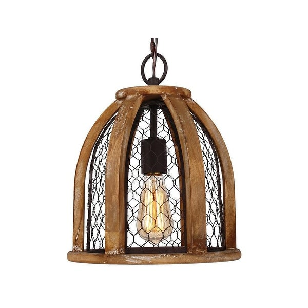 Farmhouse Chicken Wire Wood Pendant Light for Kitchen - Free ...