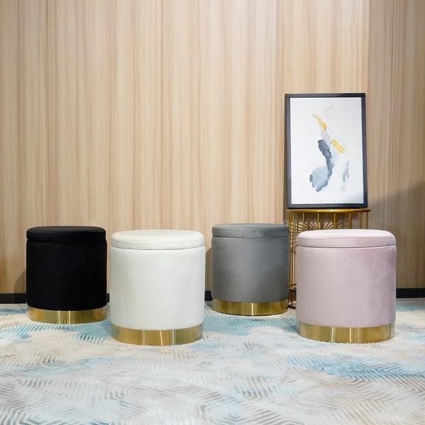 Round Velvet Ottoman Footstool Vanity Stool Seat 4 Colors. Opens flyout.